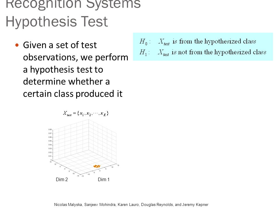 Recognition Systems Hypothesis Test