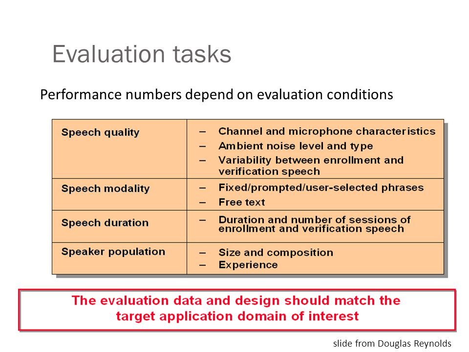 Evaluation tasks Performance numbers depend on evaluation conditions