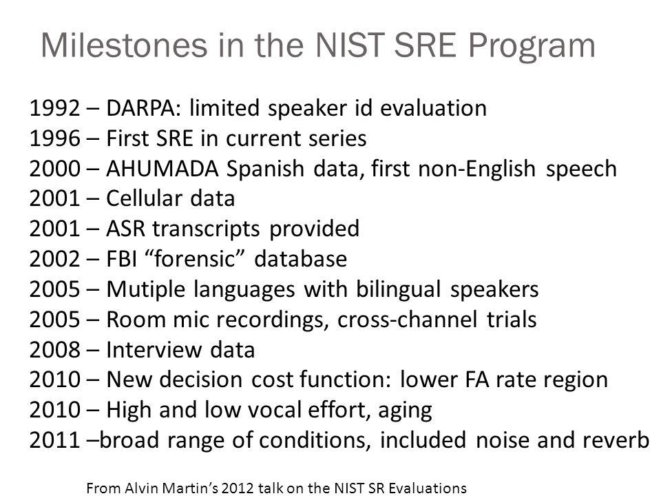 Milestones in the NIST SRE Program