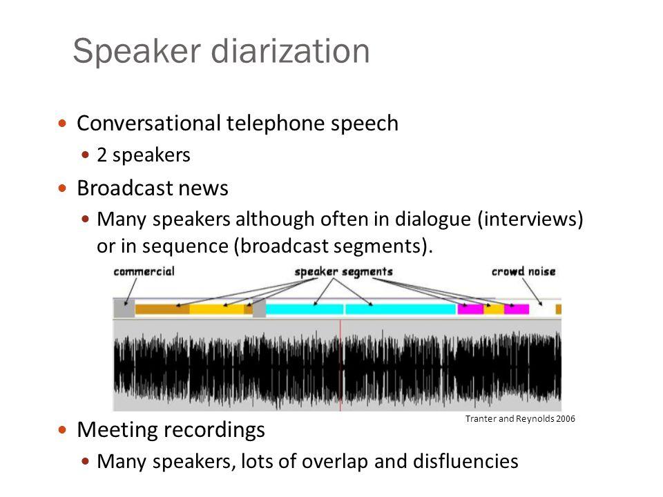 Speaker diarization Conversational telephone speech Broadcast news