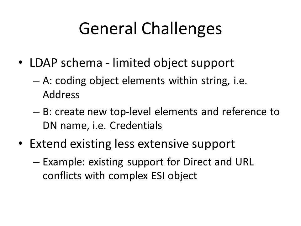 General Challenges LDAP schema - limited object support