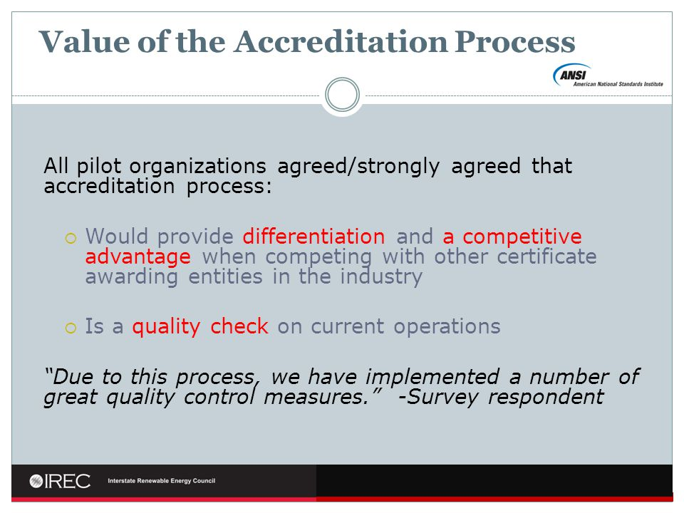 Value of the Accreditation Process