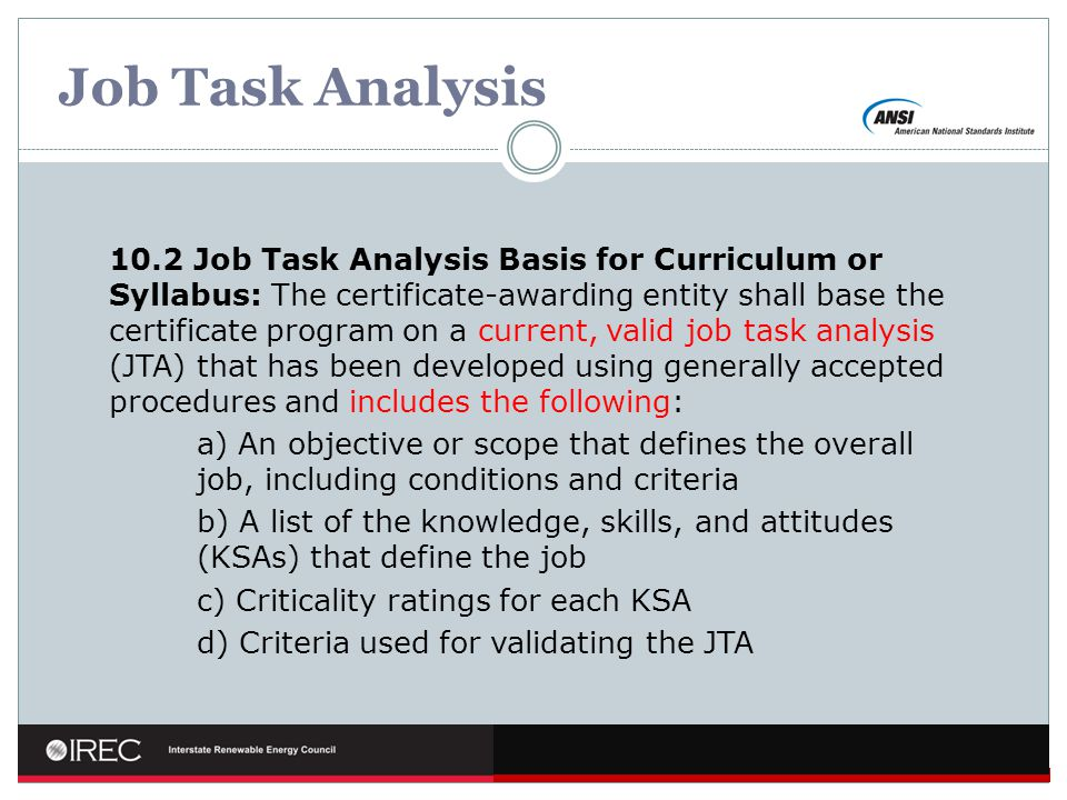 Job Task Analysis