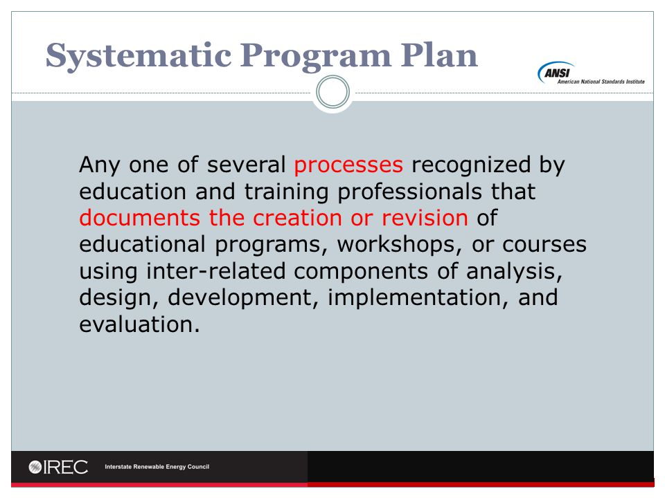 Systematic Program Plan
