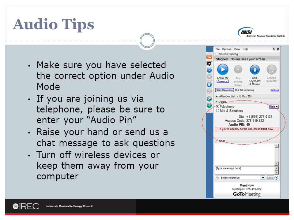 Audio Tips Make sure you have selected the correct option under Audio Mode.