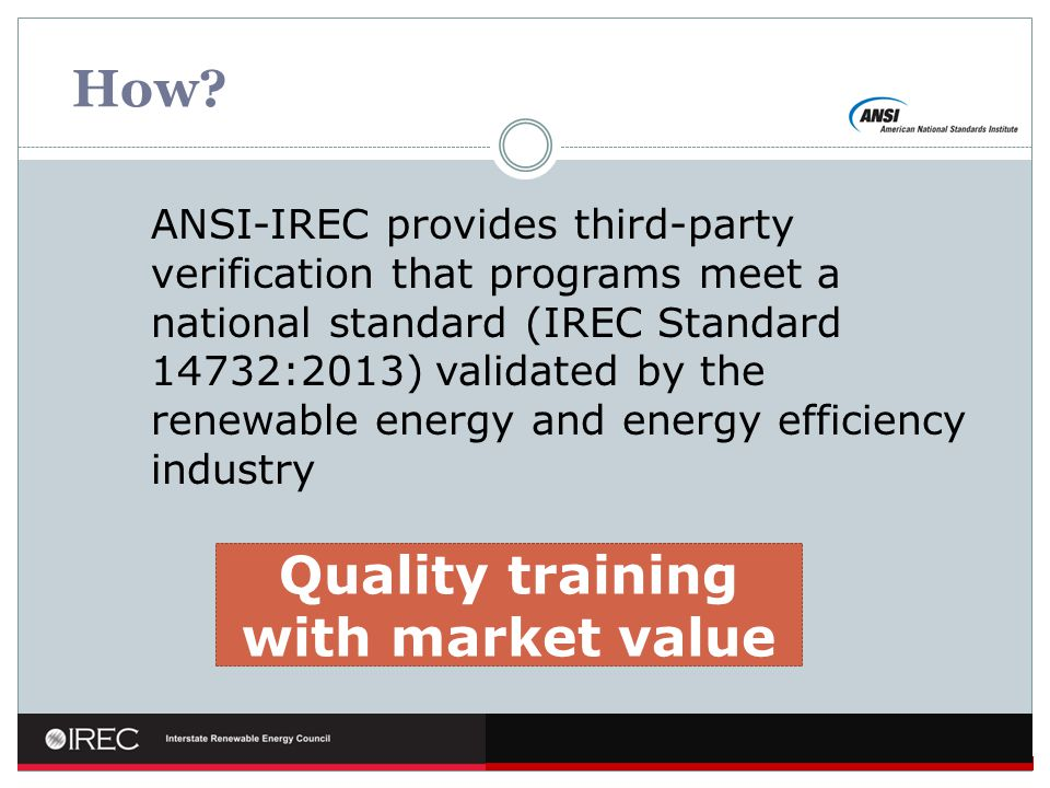 Quality training with market value