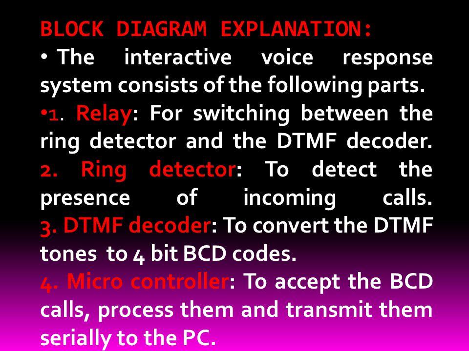 BLOCK DIAGRAM EXPLANATION:
