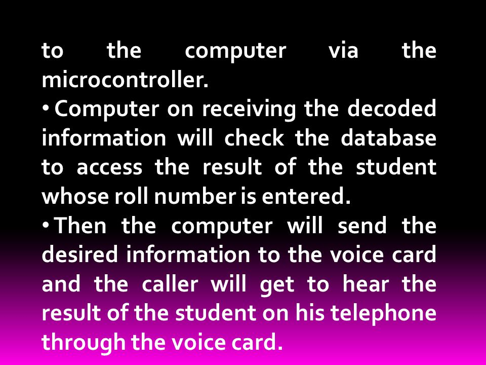 to the computer via the microcontroller.