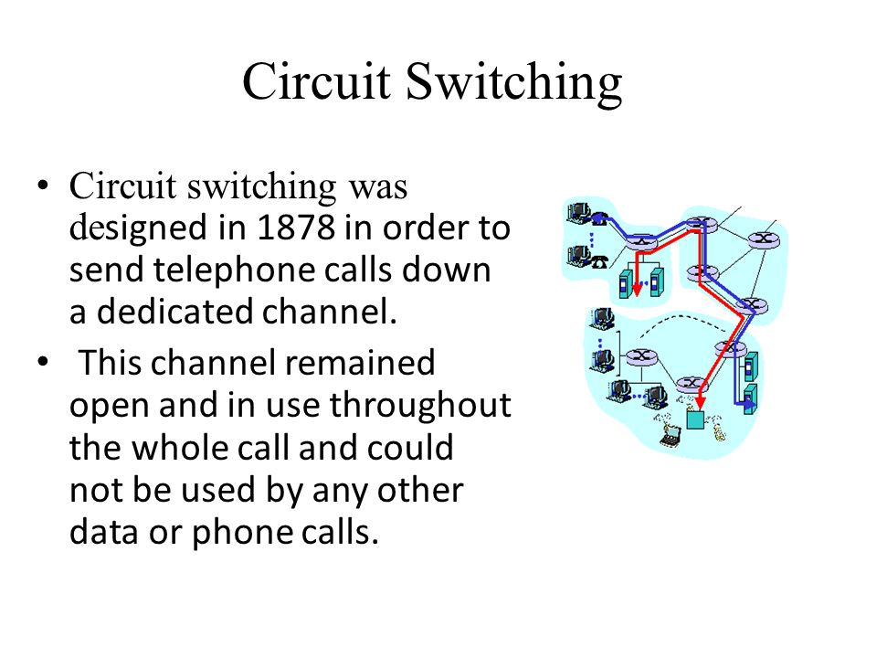 Circuit Switching Circuit switching was designed in 1878 in order to send telephone calls down a dedicated channel.