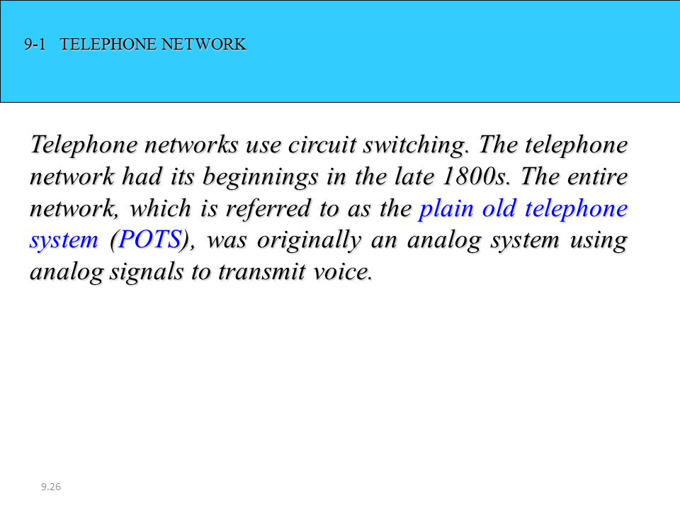 9-1 TELEPHONE NETWORK
