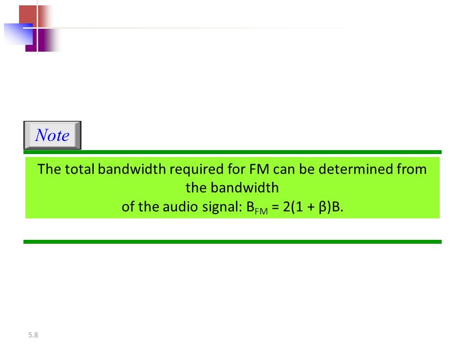 Note The total bandwidth required for FM can be determined from the bandwidth of the audio signal: BFM = 2(1 + β)B.