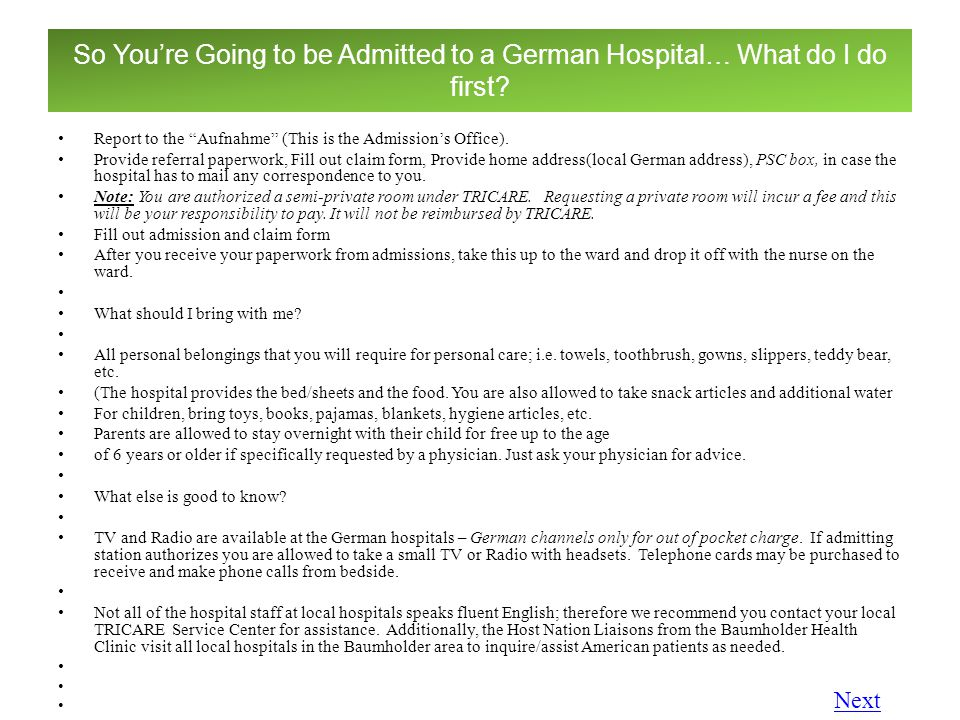 So You're Going to be Admitted to a German Hospital… What do I do first