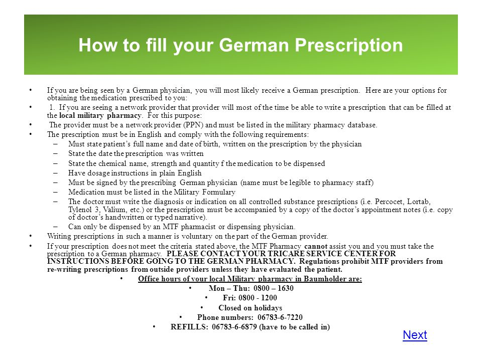 How to fill your German Prescription