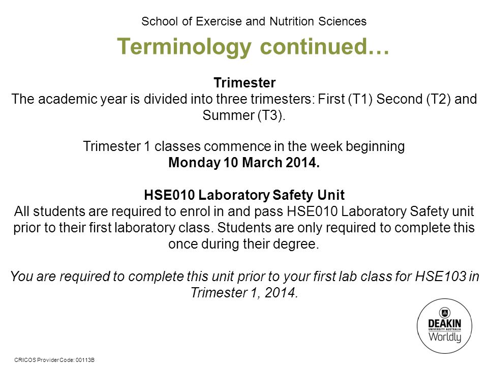 Terminology continued… HSE010 Laboratory Safety Unit