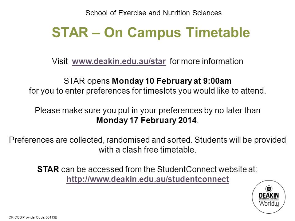 STAR – On Campus Timetable