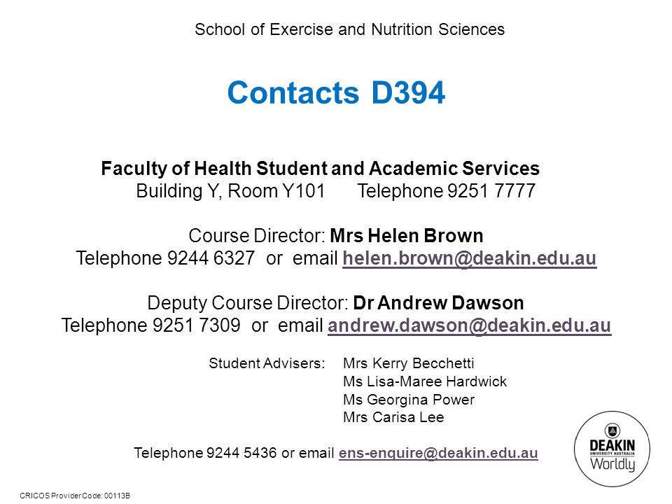 Contacts D394 Faculty of Health Student and Academic Services