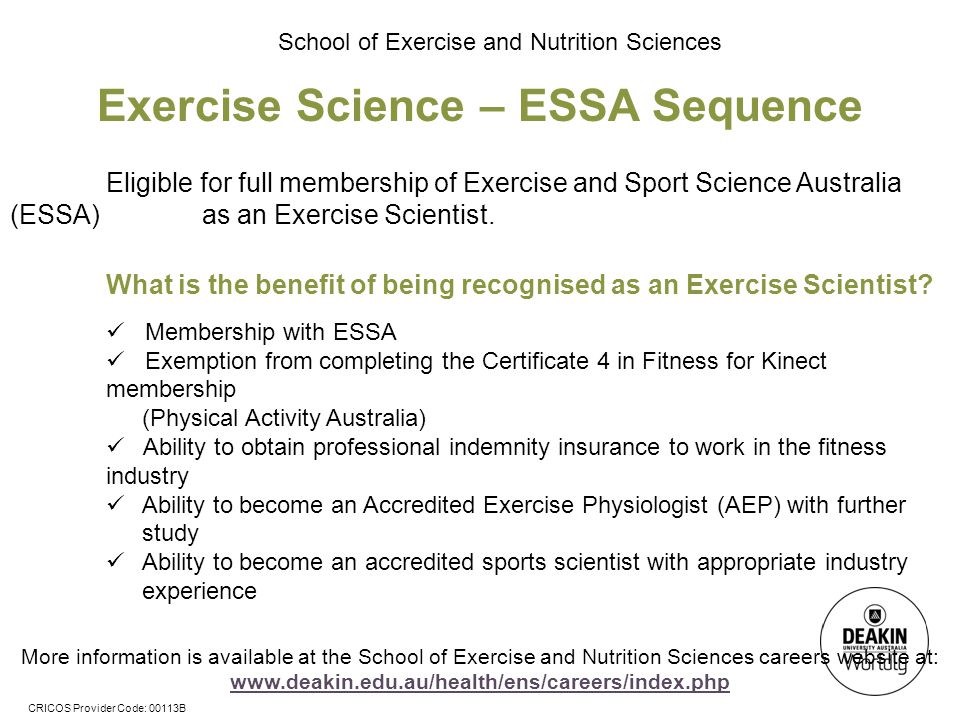 Exercise Science – ESSA Sequence