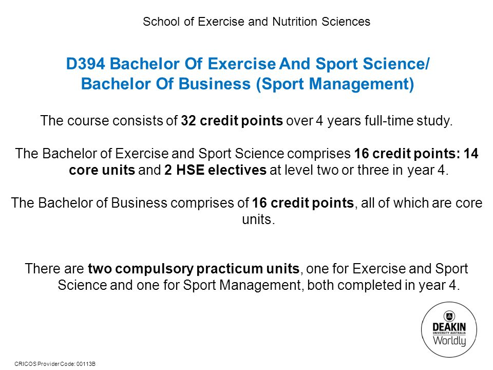 D394 Bachelor Of Exercise And Sport Science/