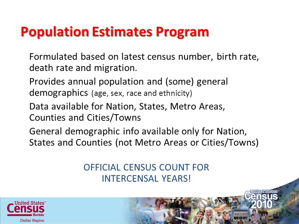 OFFICIAL CENSUS COUNT FOR INTERCENSAL YEARS!
