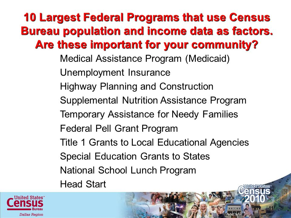 10 Largest Federal Programs that use Census Bureau population and income data as factors. Are these important for your community