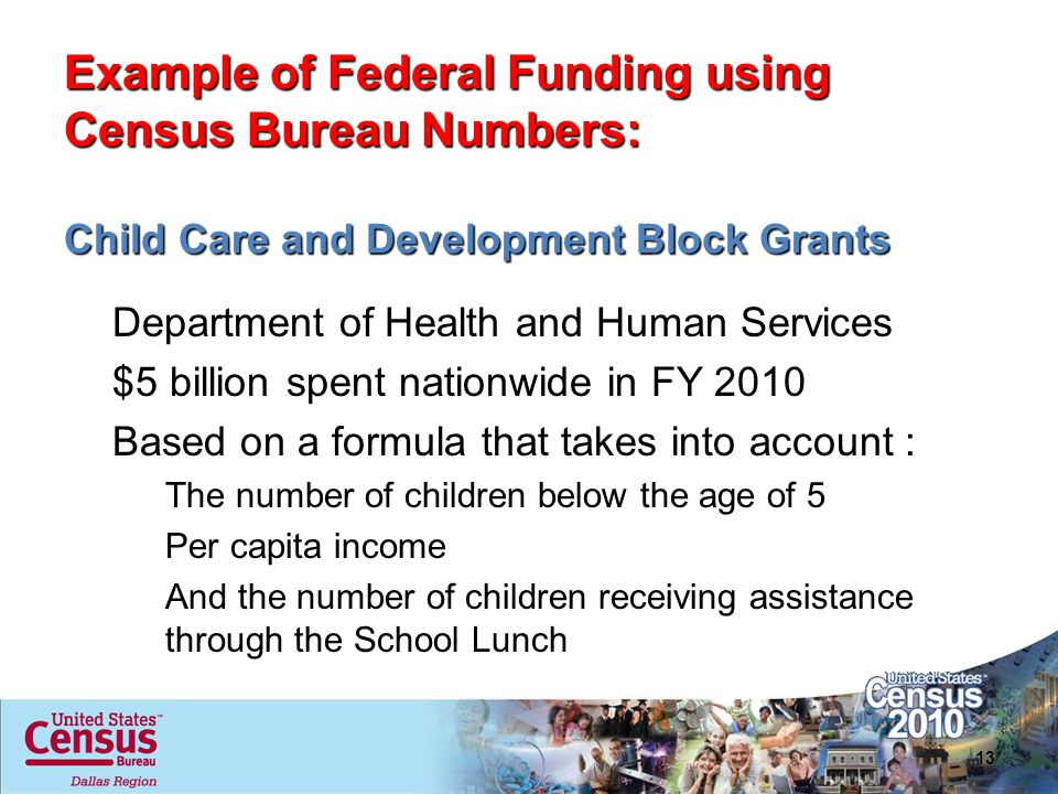Example of Federal Funding using Census Bureau Numbers: