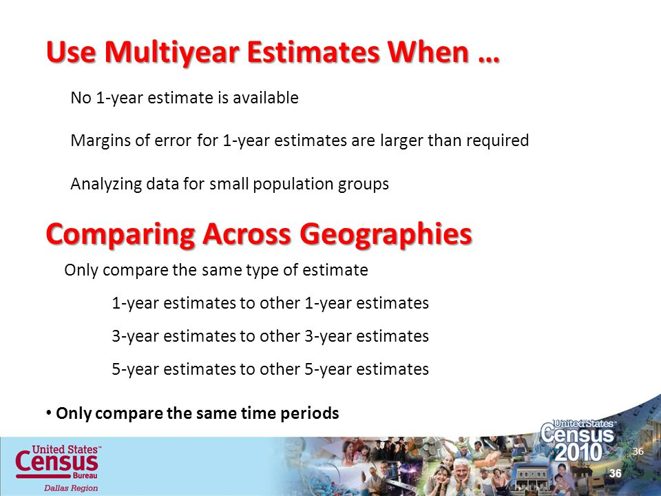 Use Multiyear Estimates When …