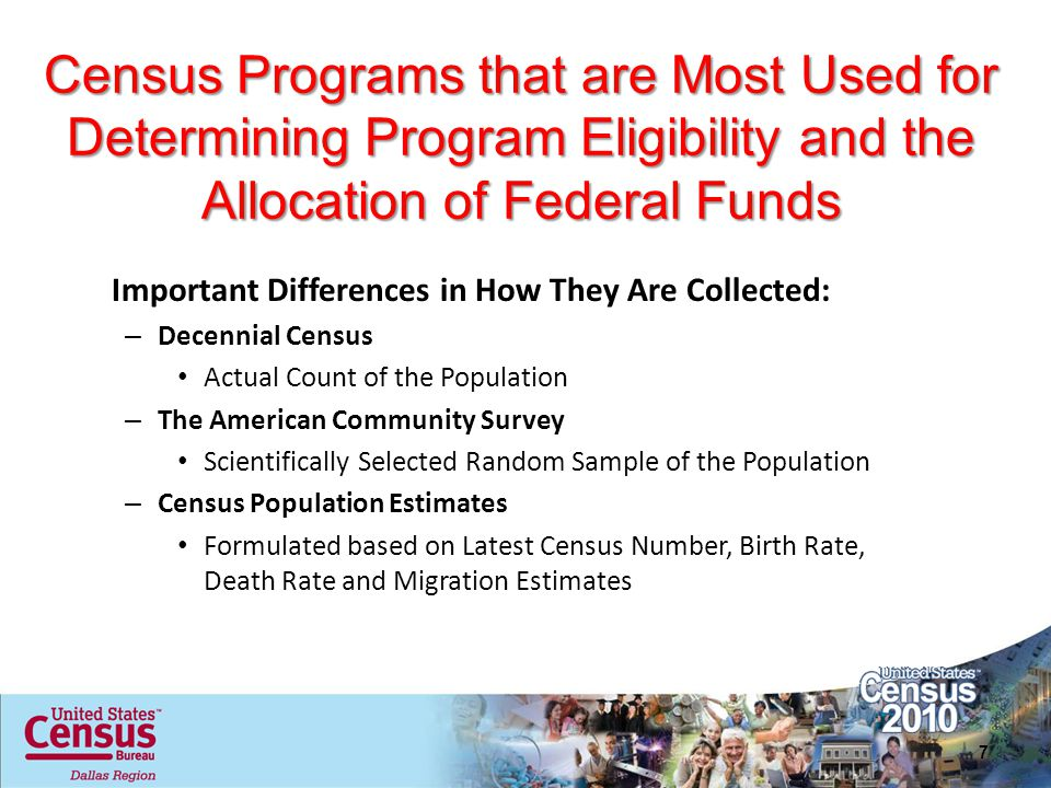 Census Programs that are Most Used for Determining Program Eligibility and the Allocation of Federal Funds