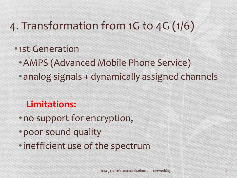 4. Transformation from 1G to 4G (1/6)