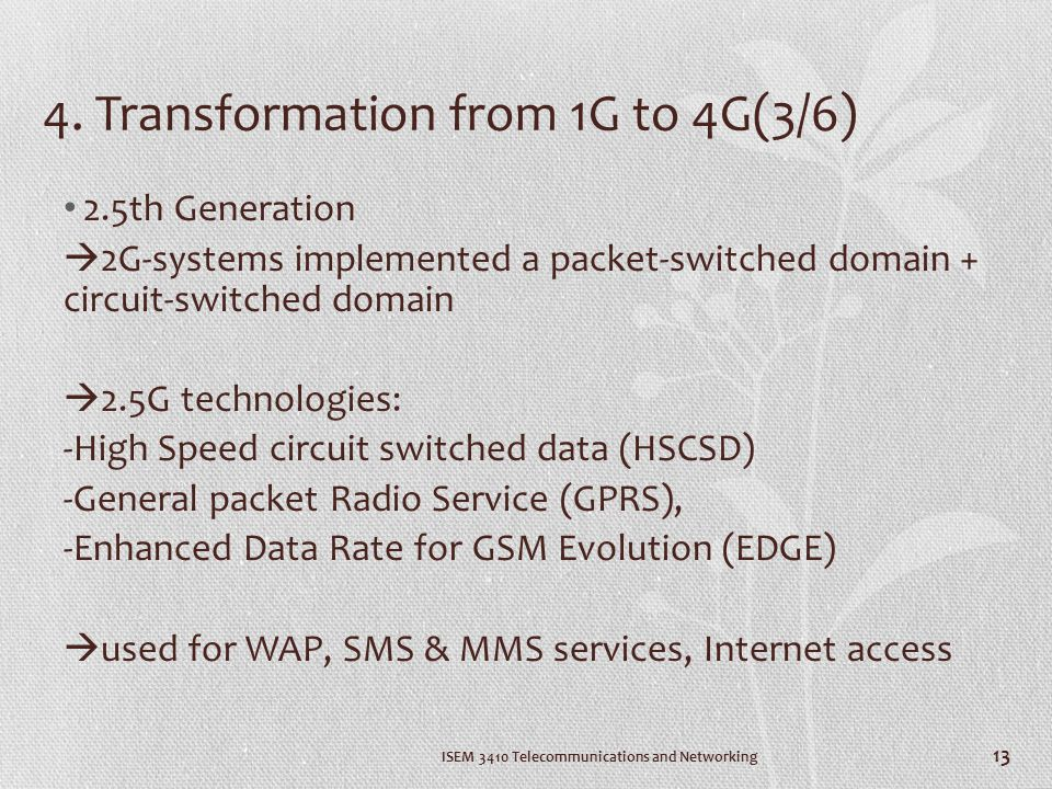 4. Transformation from 1G to 4G(3/6)
