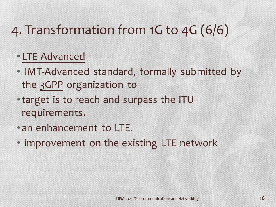 4. Transformation from 1G to 4G (6/6)