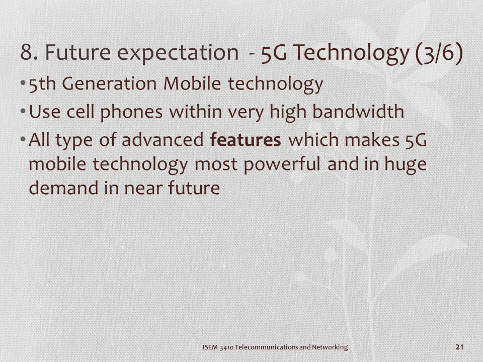 8. Future expectation - 5G Technology (3/6)