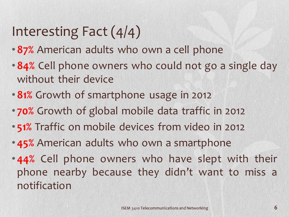 Interesting Fact (4/4) 87% American adults who own a cell phone