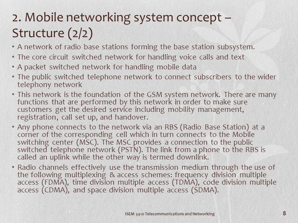 2. Mobile networking system concept – Structure (2/2)