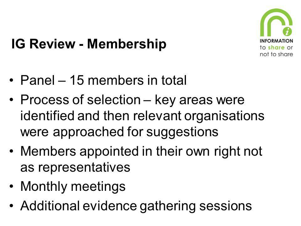 IG Review - Membership Panel – 15 members in total.