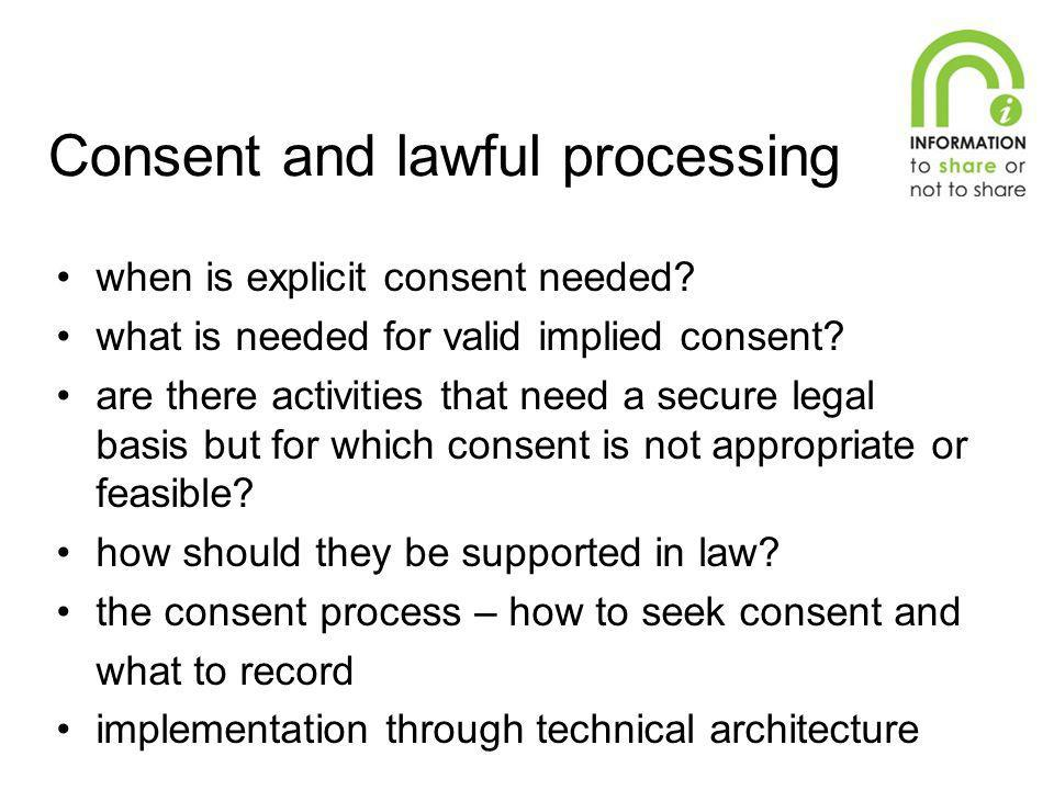 Consent and lawful processing
