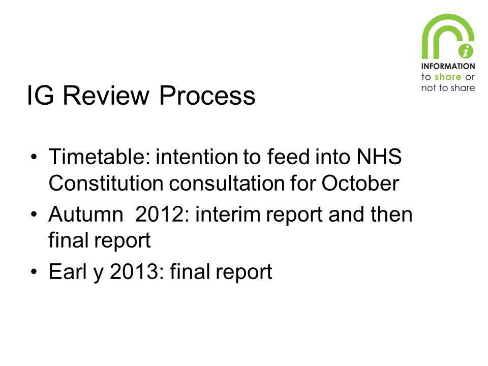 IG Review Process Timetable: intention to feed into NHS Constitution consultation for October. Autumn 2012: interim report and then final report.