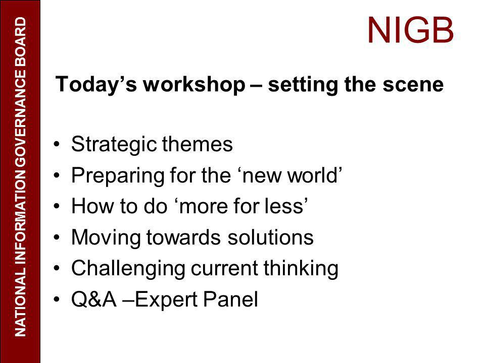 NIGB Today's workshop – setting the scene Strategic themes