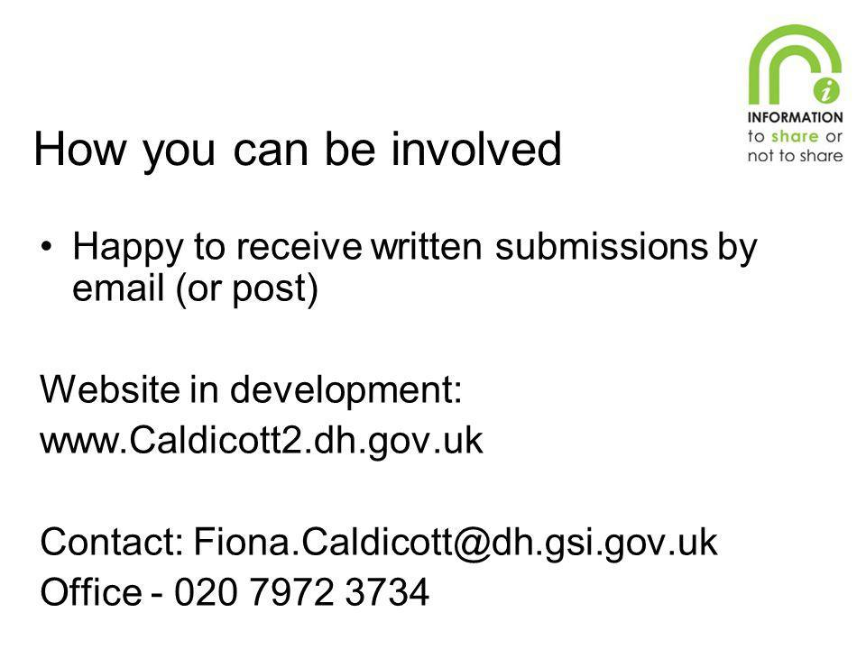 How you can be involved Happy to receive written submissions by email (or post) Website in development: