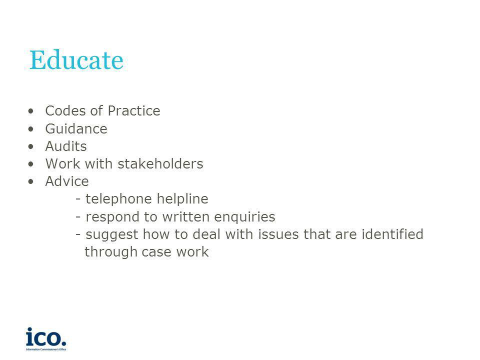Educate Codes of Practice Guidance Audits Work with stakeholders
