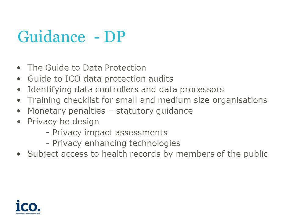 Guidance - DP The Guide to Data Protection
