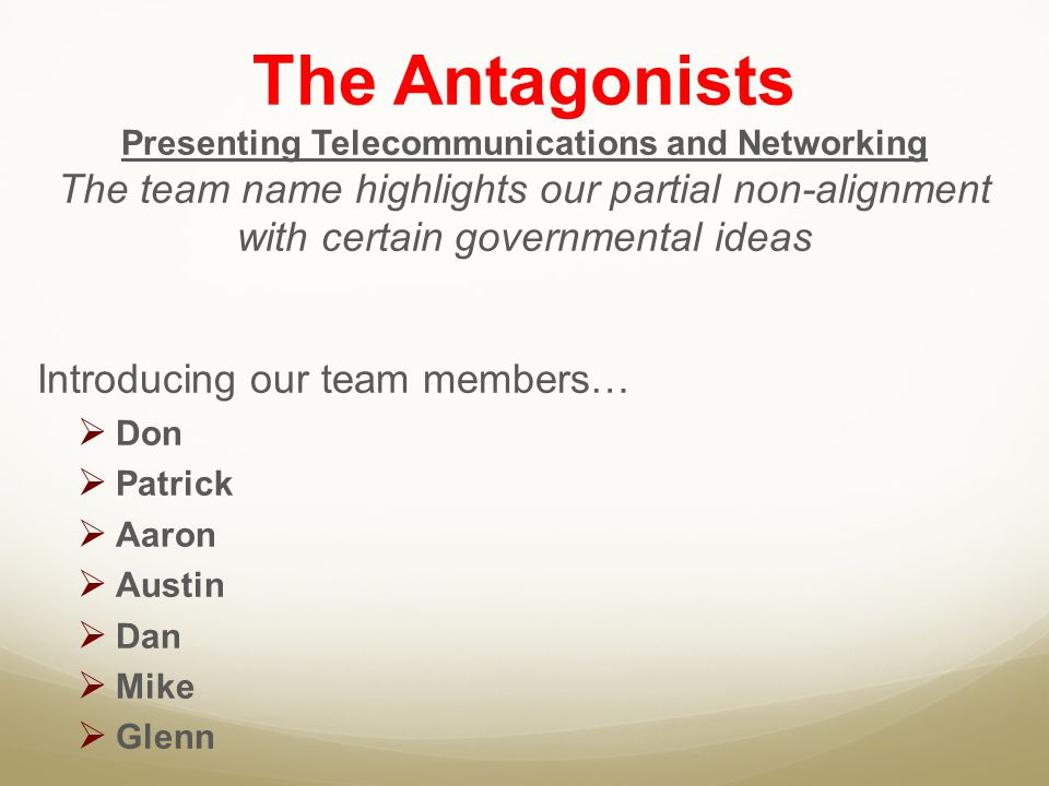 Presenting Telecommunications and Networking