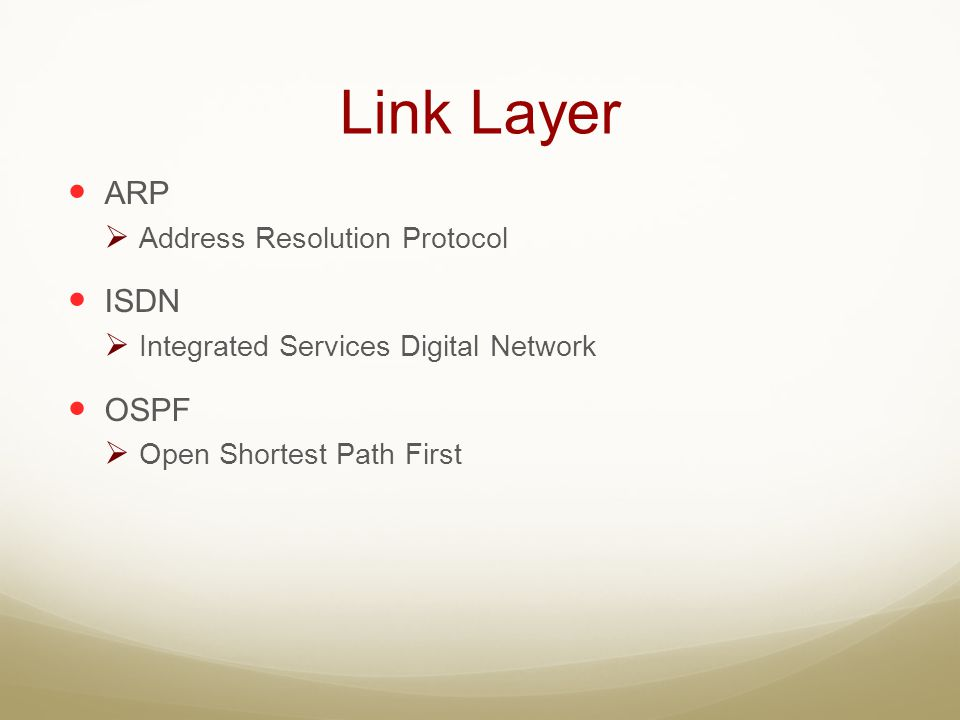Link Layer ARP ISDN OSPF Address Resolution Protocol