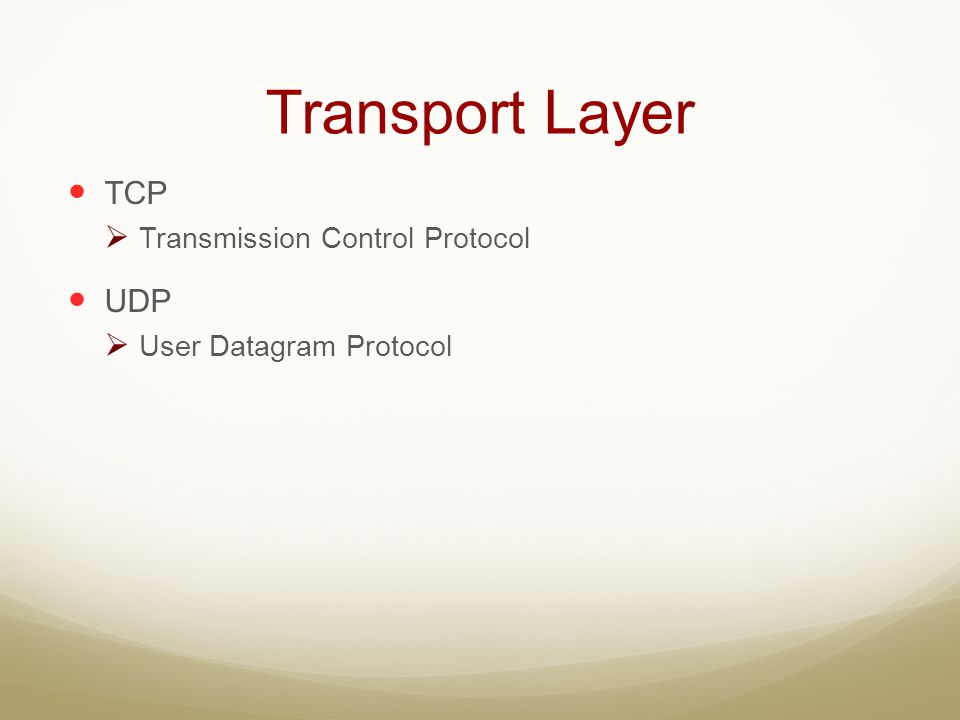 Transport Layer TCP UDP Transmission Control Protocol
