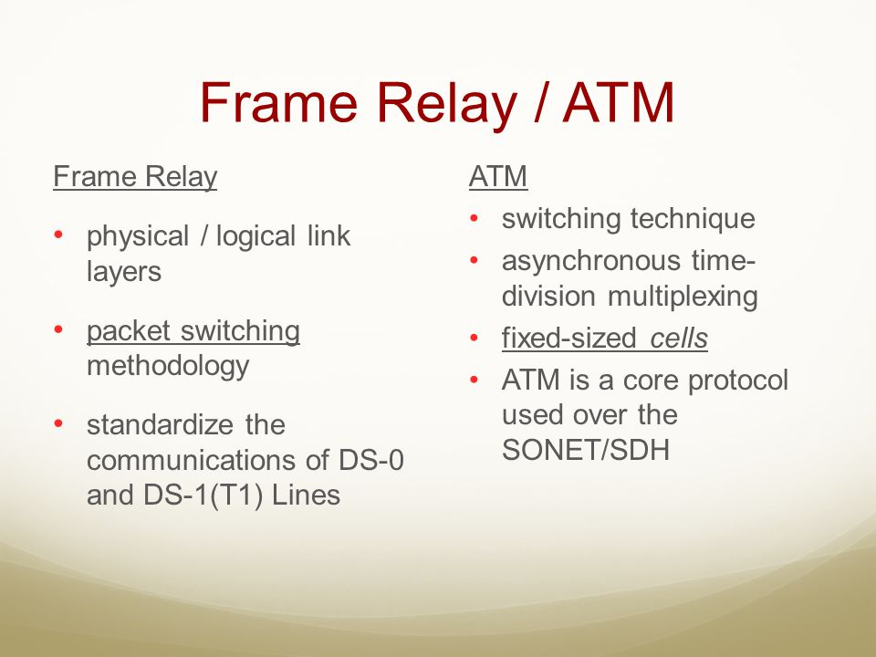 Frame Relay / ATM Frame Relay physical / logical link layers