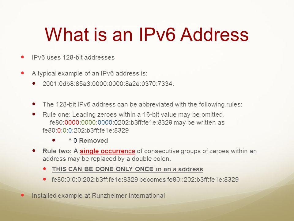 What is an IPv6 Address IPv6 uses 128-bit addresses