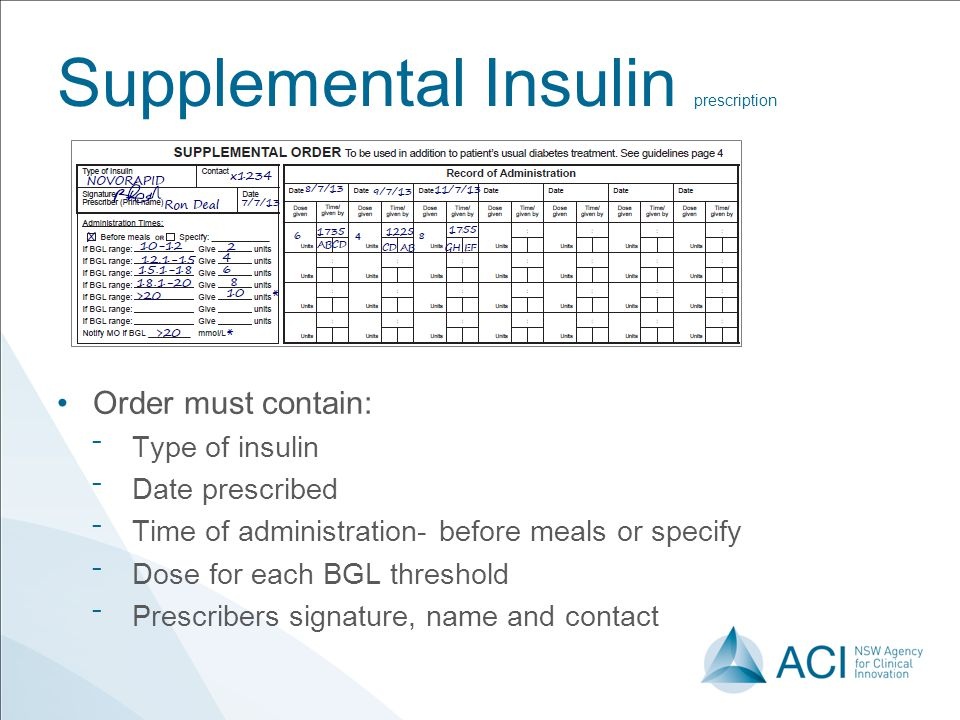 Supplemental Insulin prescription