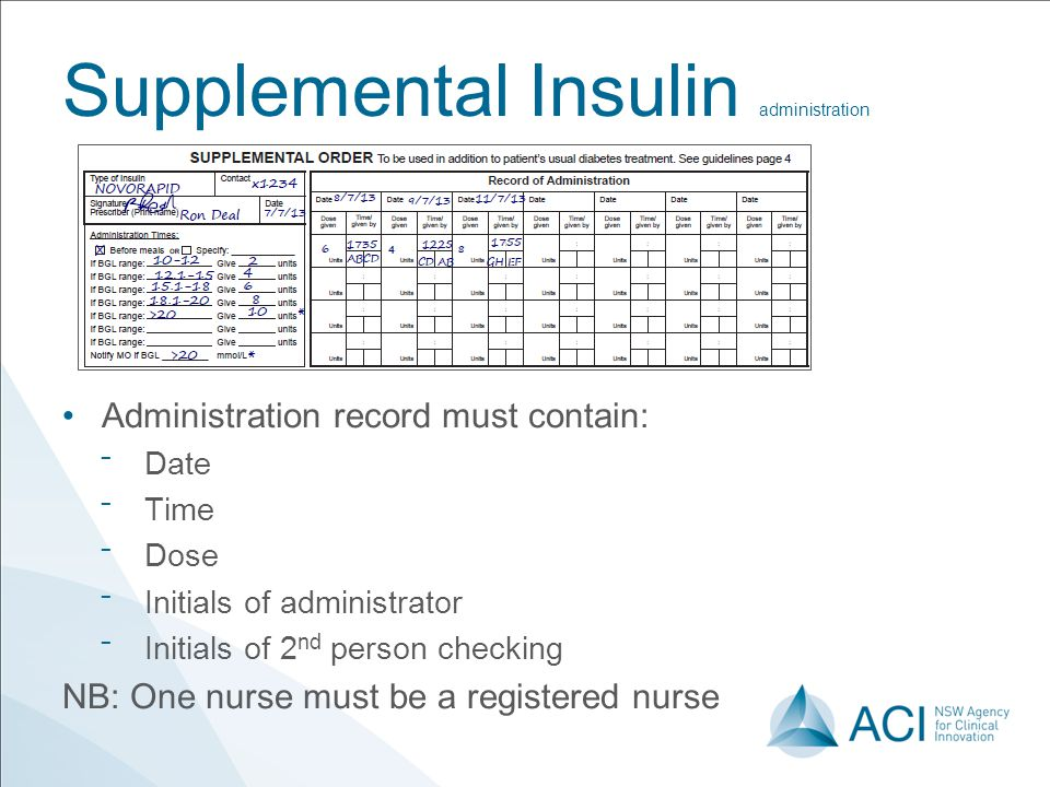 Supplemental Insulin administration