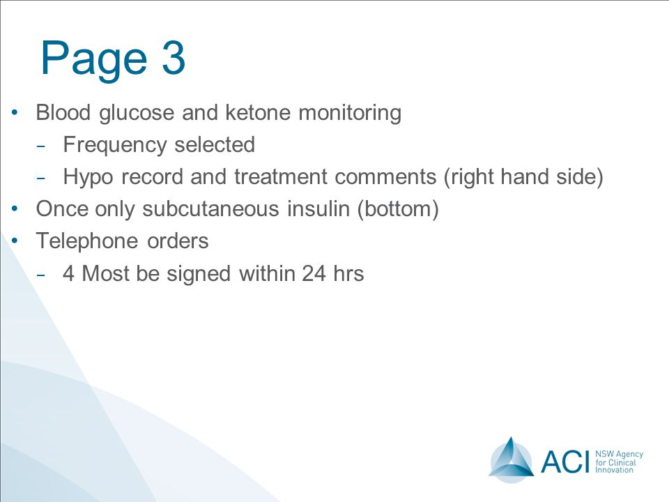 Page 3 Blood glucose and ketone monitoring Frequency selected