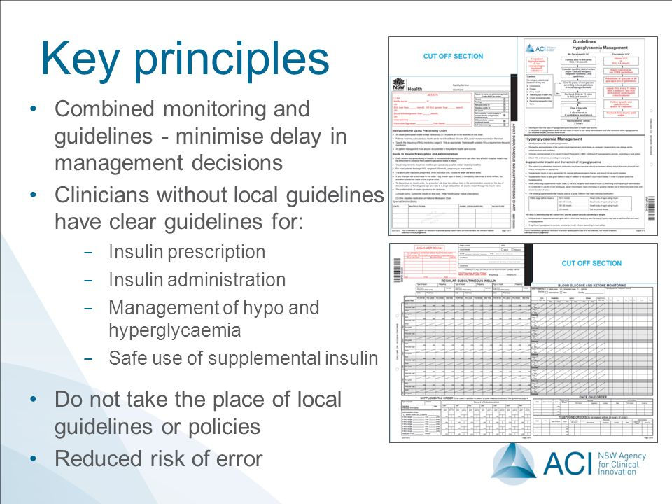 9 June 2010 Key principles. Combined monitoring and guidelines - minimise delay in management decisions.