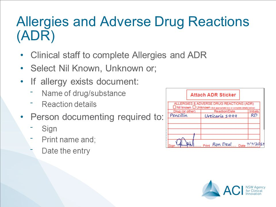 Allergies and Adverse Drug Reactions (ADR)